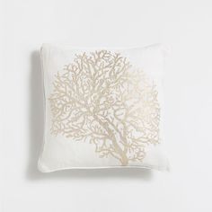 CORAL PRINT LINEN CUSHION COVER