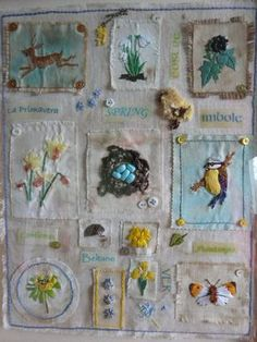 """Edwardian Nature Scrapbook"" stumpwork by Jules. I have this book and never thought of recreating with embroidery. Embroidery Sampler, Embroidery Art, Embroidery Applique, Cross Stitch Embroidery, Machine Embroidery, Cross Stitches, Crazy Quilting, Art Du Fil, Fabric Journals"