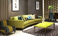 Modern Living Room Furniture Design With Green Sofa Design Elegant Home Decor, Elegant Homes, Brown And Green Living Room, My Living Room, Living Room Decor, Living Spaces, Cosy Home, Best Leather Sofa, Muebles Living