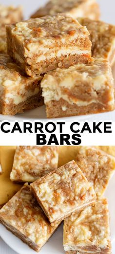 Carrot Cake Bars - These carrot cake bars are so moist and delicious! They have a sprinkle of cinnamon and a cheesecake swirl in them. They're the perfect Easter dessert bars. # easter Desserts Carrot Cake Bars - Cookie Dough and Oven Mitt Oreo Desserts, Mini Desserts, Fall Desserts, Just Desserts, Delicious Desserts, Pudding Desserts, Easter Desserts, Cinnamon Desserts, Tasty Recipes For Dessert