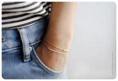 14k Gold Bracelets  Dainty Gold Bar & Gold Tube by Littionary, $68.00