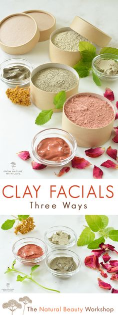 Make Your Own Clay Facial Masks - Three Easy Recipes to Get Started - - Make Your Own Clay Facial Masks – Three Easy Recipes to Get Started Skin Care Recipes Make your own simple dry facials using natural clays and essential oils Homemade Skin Care, Diy Skin Care, Skin Care Tips, Homemade Products, Homemade Cosmetics Diy, Homemade Face Cleanser, Natural Face Moisturizer, Homemade Facial Mask, Homemade Beauty Recipes
