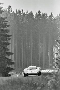 Jo Bonnier flies the Chaparral 2D through the forest at Nürburgring, 1966. Eric della Faille photo.
