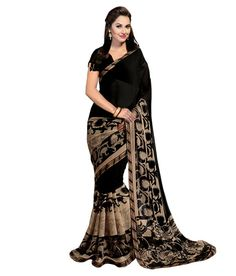 Buy utsav black geaorgette saree with bollywood style blouse Online India - 5736256