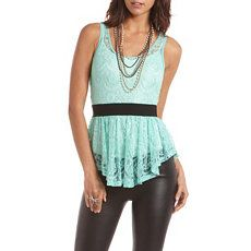 Eyelash Lace Ruffle Tank at Charlotte Russe