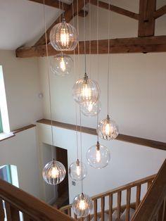 Fritz Fryer Hereford globe Cluster Pendant Light - All For Decoration Staircase Lighting Ideas, High Ceiling Lighting, Stairway Lighting, Foyer Lighting, Retro Lighting, Antique Lighting, Globe Pendant Light, Pendant Lamp, Pendant Lighting