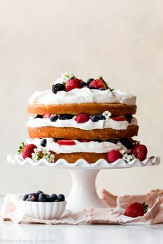 Sweet Recipes, Cake Recipes, Dessert Recipes, Frosting Recipes, Fruit Recipes, Light Cakes, Homemade Whipped Cream, Berry Cake, Sallys Baking Addiction