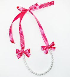 Beautiful Pearl Necklaces with Ribbon Ties by LilianaFashionBoutiq