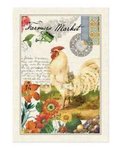 FARMERS MARKET Rooster, Flowers Cotton Kitchen Towel By Michel Design Works