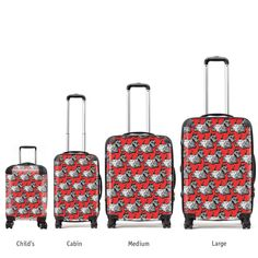 Stand out from the crowd and show your love for all things Scottish, wherever you are in the world! This fabulous Gillian Kyle suitcase comes in a variety of size options, including an adorable child's option and is adorned with Gillian's cheeky ''Scotties'' design in bright red and black. Inspired by Scotland's famous Scottish Terriers, this bold and witty case will make you the envy of the baggage carousel. **OUR SUITCASES ARE MADE TO ORDER AND WILL SHIP TO YOU IN AROUND 1 WEEK**