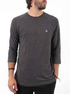 Long Sleeve Solid Heather 3/4 Sleeve Raglan Crew for men by Volcom