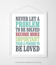 Never Let A Problem - Thomas S. Monson 8x10 inch Typographic Quote Poster Print, LDS art print, family print, Inspirational quote