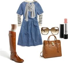 Striped shirt under dress, scarf and boots Office Outfits, Fall Outfits, Summer Outfits, Chambray Dress, Denim Dresses, Shirt Under Dress, Putting Outfits Together, Autumn Winter Fashion, Winter Style