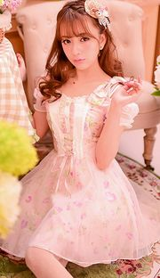 Japanese sweet bow strapless short-sleeved floral chiffon dress