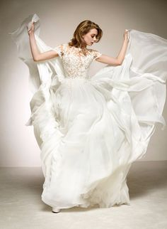 Short sleeve romantic wedding dress from pronovias
