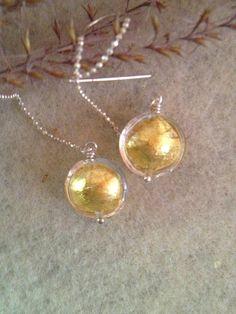 Venetian Glass on Ear Threads-Authentic Venetian Glass-Sterling Silver Ear Threads-Dangle Earrings