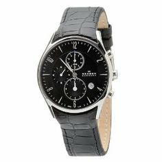 Shop for Skagen Men's Chronograph Black leather Band Watch. Get free delivery On EVERYTHING* Overstock - Your Online Watches Store! Black Leather Watch, Leather Watch Bands, Amazing Watches, Beautiful Watches, Skagen, Affordable Watches, Online Watch Store, Watches For Men, Women's Watches