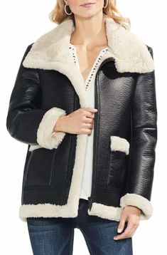 7e1dbae2f80c Reduce Vince Camuto Faux Leather Shearling Coat (Regular  amp  Petite)  Vince Camuto