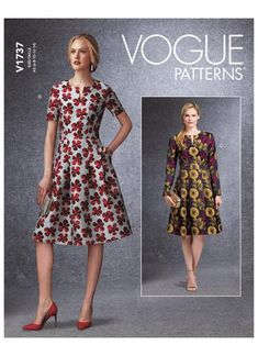 Vogue sewing pattern 1737 Fit-And-Flare Dresses with Waistband and Poc – jaycotts.co.uk - Sewing Supplies Fit And Flare, Fit N Flare Dress, Vogue Patterns, Patron Simplicity, Robes D'occasion, Short Sleeve Dresses, Dresses With Sleeves, Schneider, Fashion Sewing