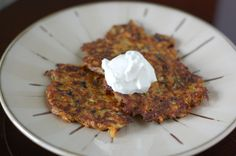 Make paleo by subbing the flour, and frying in ghee or coconut oil  Vegetable Pancakes from 100 Days of Real Food