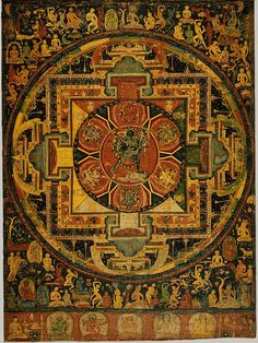 ca. 1100. This is the earliest known Nepalese painting on cloth (paubha). Its rich palette of red, black and yellow, the elongated proportions and animation of the figures are adapted from contemporaneous illustrated manuscripts. Chakrasamvara Mandala is the chief of all 'Mother Tantras of the Unexcelled Yoga Tantra' class. Paramasukha-Chakrasamvara Mandala. Nepal