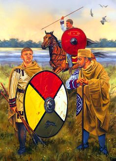 Late Roman army soldiers and officer on the Great Hunt