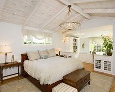 Beach Cottage Chic bedroom with custom-built in office