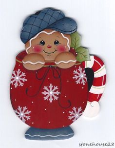 HP GINGERBREAD in a Cup FRIDGE MAGNET #Handpainted