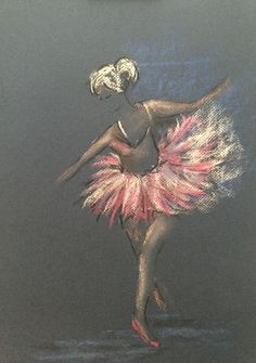 Ballerina, pastel and charcoal