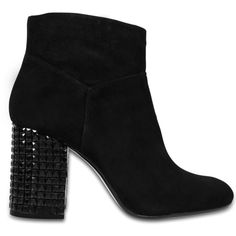 Michael Michael Kors Arabella ankle boots with embellished heel (150 AUD) ❤ liked on Polyvore featuring shoes, boots, ankle booties, black, black boots, ankle boots, ankle bootie boots, short black boots and black ankle bootie