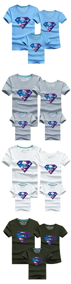 2017 summer style t-shirt superman cotton sweatshirt family clothing matching mother and daughter clothes father and son suits