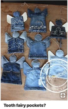 New Photos Tooth fairy pockets? Tips I enjoy Jeans ! And much more I like to sew my own Jeans. Next Jeans Sew Along I'm likely to sho Christmas Angels, Christmas Crafts, Christmas Decorations, Christmas Ornaments, Christmas Ideas, Christmas Tree, Jean Crafts, Denim Crafts, Jean Diy