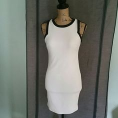 SUMMER SALE!!! White/black Fitted Mini Dress S 96% polyester/4% spandex White/black fitted Mini dress. Stretchy and very comfortable Size Small Dresses Mini