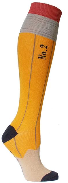 Pencil Knee High Socks from The Sock Drawer More Smart Women Never Go for Boring Socks, Do You? Silly Socks, Crazy Socks, Cute Socks, Kids Socks, Awesome Socks, Thigh High Socks, Thigh Highs, Textiles, Tight Leggings