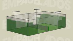 Medidas y ubicación de los distintos elementos que forman la pista de pádel: paredes, suelo, accesos, iluminación.