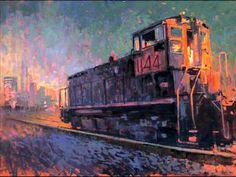 LA Train, by William Wray. Love how the orange ground vibrates under the atmospheric blues and greens. Urban Landscape, Abstract Landscape, Landscape Paintings, Abstract Art, Klimt, Bonnard, Urban Painting, Train Art, Spanish Painters