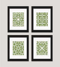 Green Wall Art Prints Modern Set Of 4 By Inkandnectar 4500