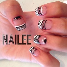 Mis u& black and white aztec nails Get Nails, Fancy Nails, Love Nails, How To Do Nails, Pretty Nails, Hair And Nails, Tribal Nails, Creative Nails, Nails Inspiration