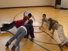 Games - Cooperative games create a version for inside recess or brain break. use the first week of school Pe Activities, Gross Motor Activities, Team Building Activities, Gross Motor Skills, Physical Activities, Elementary Pe, Pe Lessons, Health And Physical Education, Indoor Recess
