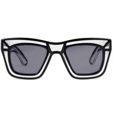 Ksubi - Skeleton oversized square frame sunglasses (3.389.210 IDR) ❤ liked on Polyvore featuring accessories, eyewear, sunglasses, glasses, xray glasses, steampunk sunglasses, vintage eyewear, oversized glasses and vintage glasses