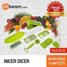 Nicer Dicer Pack Of 10 at Lowest Rate from Infibeam's MagicBox !  Assuring Lowest Price in Magic Box Deals !   HURRY OFFER VALID FOR TODAY ONLY !!  #MagicBox #Deals #DealOfTheDay #Offer #Discount #LowestRates #Nicer #Dicer #PackOf10 #Kitchenware #KitchenTools #Peeler #Slicer