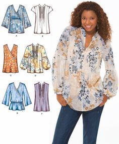 Plus Size TUNIC TOP Sewing Pattern - Peasant Boho Tops - Sizes 14-22