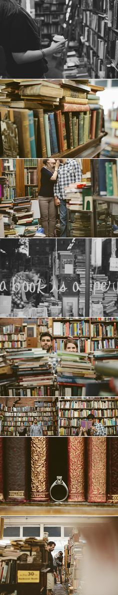 Vancouver Bookstore Engagement Shoot....love the whole thing, but the ring shot is my fave.