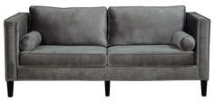 Cooper Grey Velvet Sofa Handcrafted with over 1,300 hand-applied silver nail heads, the soft blue velvet Cooper sofa brings style and comfort to any space. This fashionable sofa boasts a kiln dried wo
