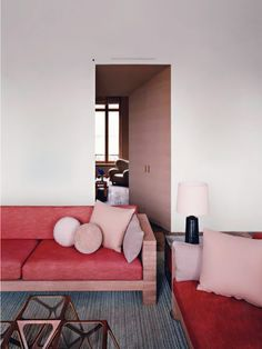 Loving the red paired with unexpected colors like salmon, grey and soft pink.
