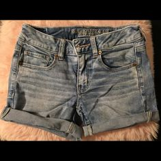 American Eagle light denim shorts Super stretch fit and have only been worn once American Eagle Outfitters Shorts Jean Shorts