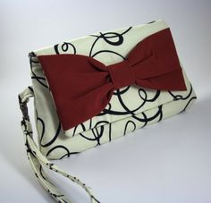 Black and White Clutch Purse with Red Bow