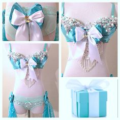 By: Electric Laundry ♥ Rave Festival Outfits, Rave Outfits, Cool Outfits, Amazing Outfits, Crystal Embroidery, Rave Girls, Rave Costumes, Belly Dance Outfit, Pretty Bras