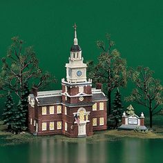 Independence Hall Historical Landmark Series Stats Home Decorative Centers Christmas Village Display, Christmas Decorations, Independence Hall Philadelphia, Historical Landmarks, Department 56, City Lights, School Projects, Disney Movies, New England