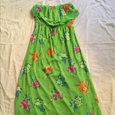 Old Navy Green Floral Maxi-Tube Dress Green Floral Maxi-Tube Dress, Only Worn Once...100% Polyester Old Navy Dresses Maxi
